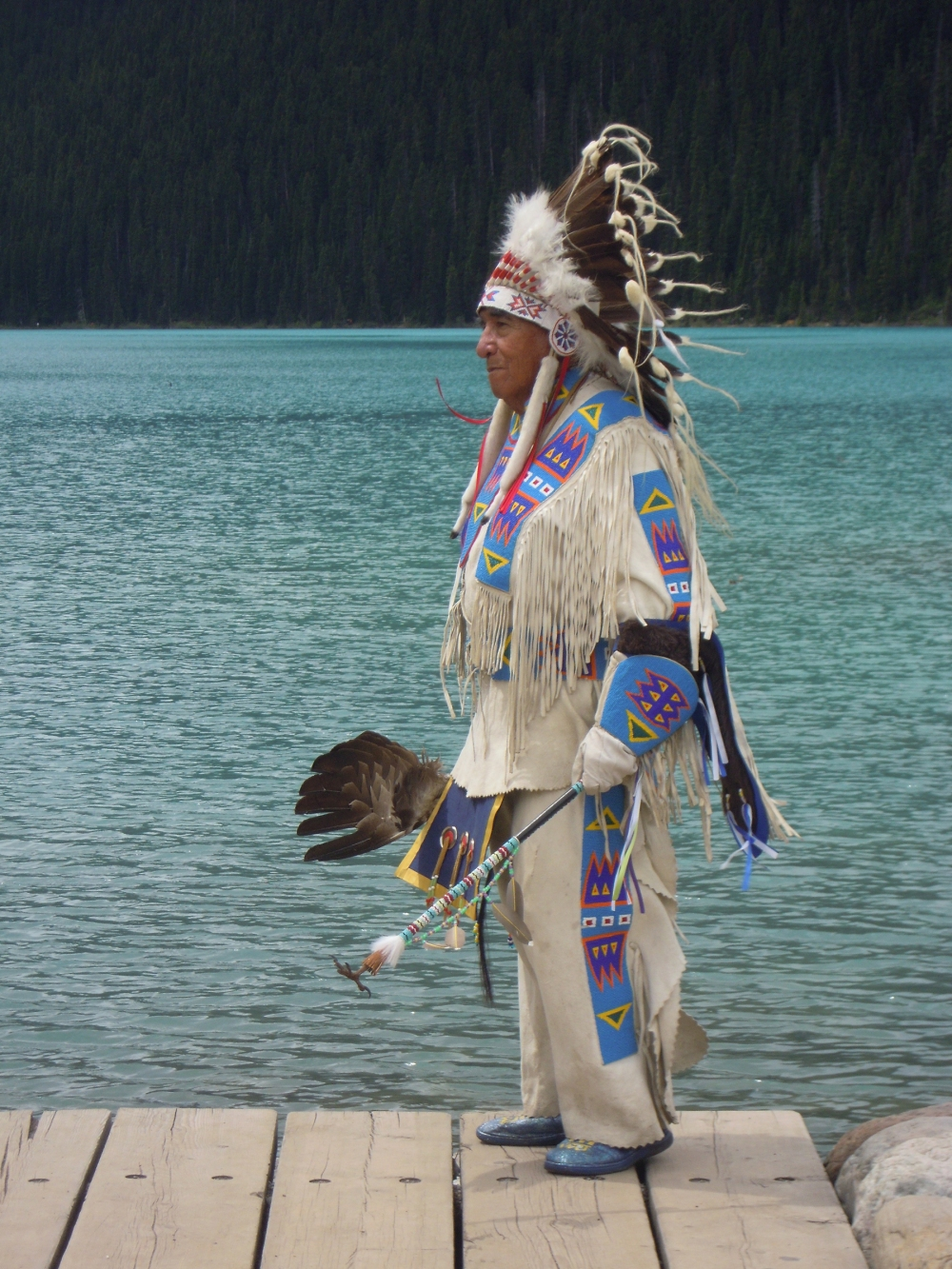 Native American, Indian Chief, Lake Louise, Rockies