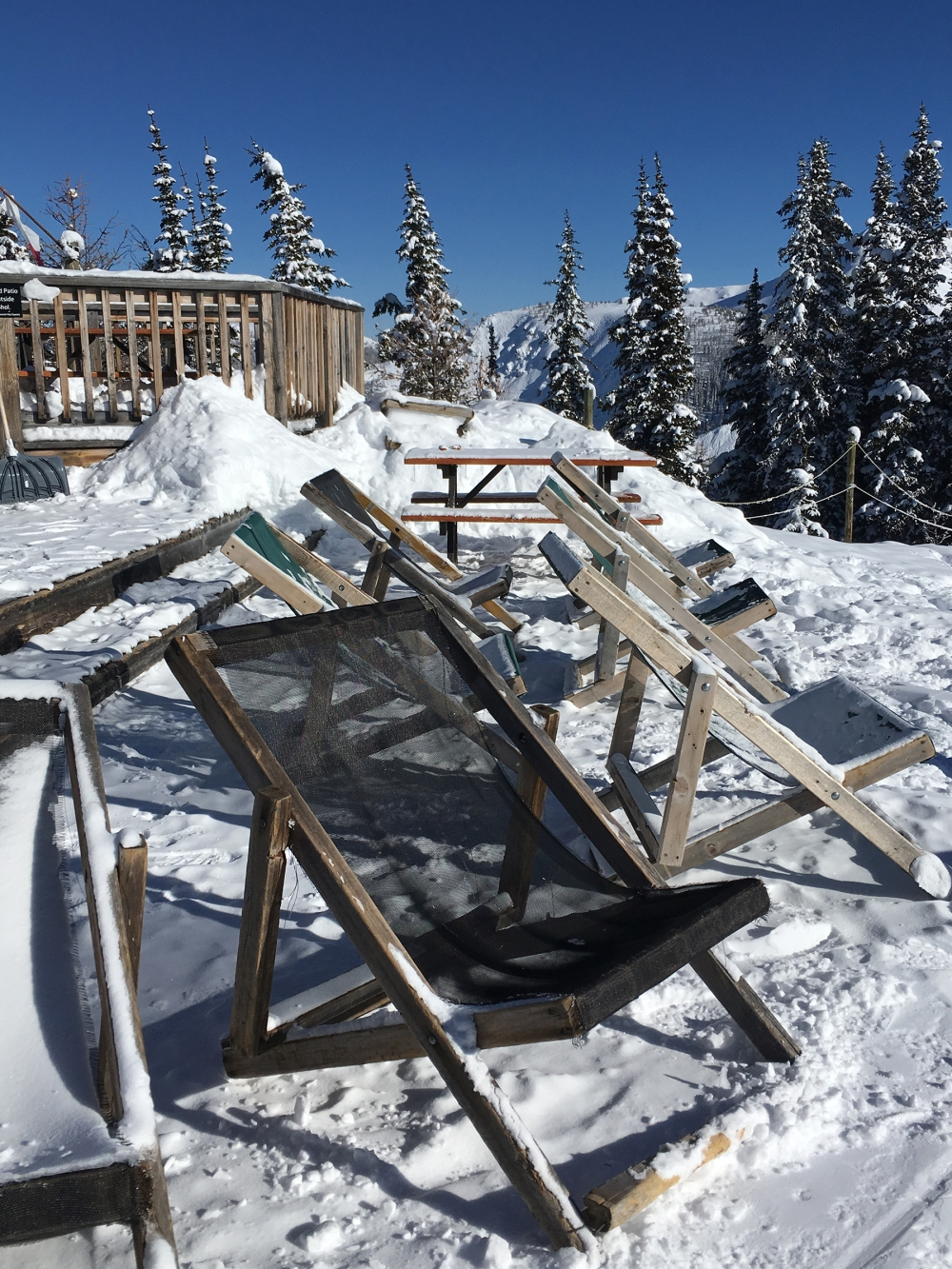 Skiing Canada Deckchairs in snow